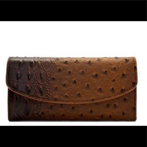 Handbags - Ostrich Embossed 15-Card Trifold Wallet/Checkbook